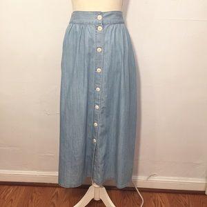 8ff1daba93 Madewell Skirts | Palisade Button Front Midi Skirt Indigo | Poshmark